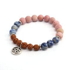 BN1218 Rudraksha gemstone beads elastic bracelet with om charm,Zen Spiritual Bracelets