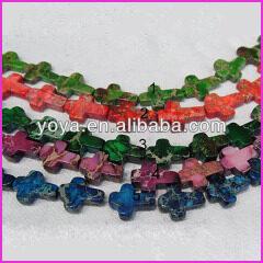 SM3010 Green yellowgreen pink purple blue Sea sediment jasper cross beads,imperial jasper cross beads