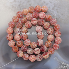 AB0257 Red frosted matte agate beads,fire agate beads,red weathered agate beads