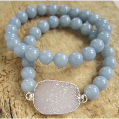 BRH1221 Hot sale aquamarine beaded druzy bracelet set