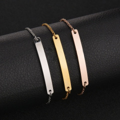 BS2002 custom engraved ID personalized 304 stainless steel name bar bracelet for women
