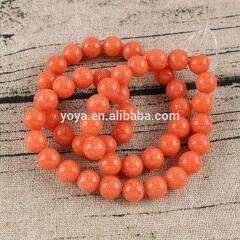 MJ1018 Popular 8mm smooth orange gemstone Mashan jade round loose beads