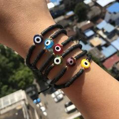 BP1007 Trial Jewelry Black African Vinyl Discs Polymer Clay Disc Heishi Beads Eye Heart Charm Macrame Bracelets