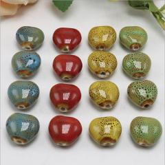 CC1851 Vintage Heart Shape Ceramic Beads, Handmade Pottery, Heart Porcelain Beads for Jewellery Making