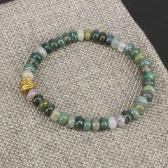 BN5184 Moss Agate beaded bracelet,rondelle stone bracelet with buddha head