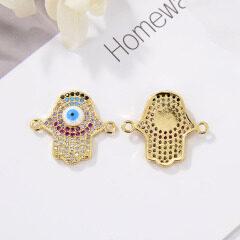 CZ8147  CZ Zircon Micro Pave Jewelry connectors Evil Eyes Hamsa Hand Charm Bracelet Gifts