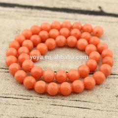 MJ1021 gorgeous 8mm smooth natural stone orange Mashan jade jewelry round loose beads