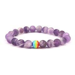 8mm matte amethyst bracelet amethyst beads jewelry
