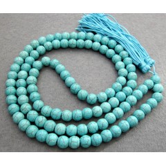 NE2010 Turquoise beads prayer necklace, Fashion 108 howlite necklace with tassel