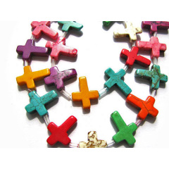 TB0009 Mini Colorful Dyed Howlite Turquoise Stone Cross Beads