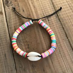 BE1019 summer season Beach Jewelry Chic Enamel Cowrie Shell with rainbow Polymer Clay Vinyl disc beads bohemia bracelet women
