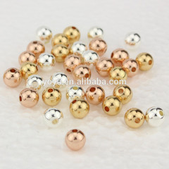 JF0244 HIgh Quality Gunmetal Silver/gold //rose gold solid plated Metal Round Beads