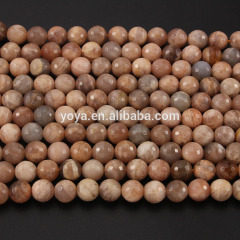 SB6369 Wholesale pink faceted sunstone gemstone beads