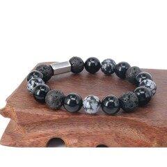 BN5340 Natural Black Stone Mens Bracelets,Bracelet Homme,Custom Logo Rectangle Beaded Bracelets
