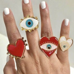 RA1001 Exaggerated Fashion Jewelry Finger Rings Heart Shape Enamel Evil EvilEye Eye Open Band Women Rings
