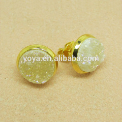 EA3161 2014 hot sale yellow quartz crystal druzy stud earring