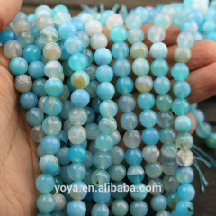 AB0013 Beautiful faceted aqua blue striped agate beads