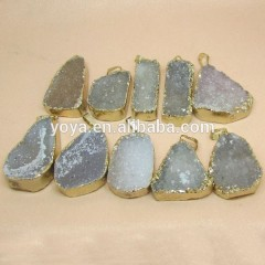 JF2256 Fashion gold electroplated Agate geode druzy pendant,agate geode druzy slice pendant