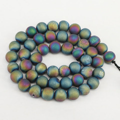 AB0290 Titanium Rainbow Coated Plated Druzy Geode Agate Round Beads