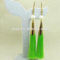 E3169 Trendy green silk cord tassel earring,long tassel earring