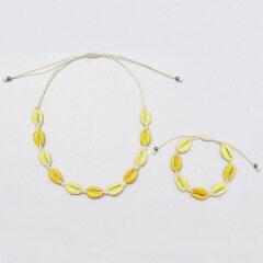 S11021 Boho Alloy cowrie shell choker Cowry Shell Bracelet Rainbow Enameled Cowrie Shell Bracelet and Necklace Beach Jewelry Set