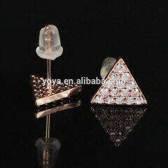 EC1074 Fashion CZ micro pave triangle stud earring,Cubic zirconia crystal earring