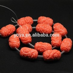 GP0832 Fashion carved mermaid pink coral colour resin barrel drum beads