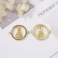 CZ8149 wholesale CZ brass Virgin Mary charms for bracelet miraculous medal jewelry accessories  copper blessed mother connector