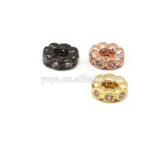 CZ7307 Wholesale CZ micro pave round disc beads,Cubic zirconia copper beads