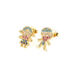 EC1596  Hot Sale 18k gold plated CZ micro pave kids earrings,diamond children girl and boy huggie earrings jewelry for women