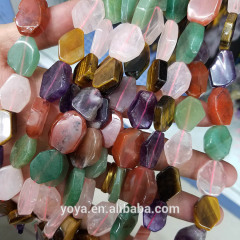 CR5544 Fashion Mixed Natural Crystal Quartz Hexagonal Nugget Beads,Natural Stone Freeform Slice Beads
