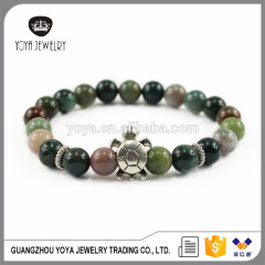 BAA1711 Hot sale gemstone Indian agate beads with sliver tortoise bracelet jewelry