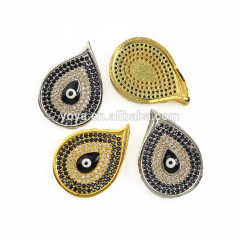 CZ6870 Black evil eye charm, CZ micro pave evil eye, CZ peacock head beads for jewelry