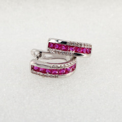 Chic cubic zirconia micro pave earrings CZ Micro Pave LatchBack Earring Wires Hooks, fuchsia diamond Leverback Huggie ear wire,