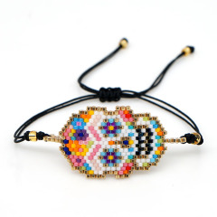 BG1056 Women Boho Rainbow Miyuki Seed Loom Beaded Skull Skeleton Cuff Bracelet