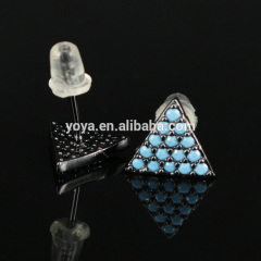 EC1071 New arrival CZ micro pave turquoise stud earring, Cubic zirconia triangle earring