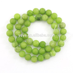MJ3184 Matte Olive Light Green Jade Beads