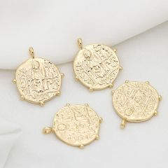 JS1506 High Quality Chic 14k Gold Plated Brass Coin Medallion Charm Necklace Pendants for Necklace Jewelry Making