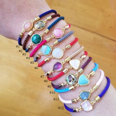 BN4014 Fashion Dainty Gold Bezel Natural Gemstone Charm Friendship Bracelet with Adjustable Rope Chain for Girls Ladies