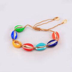 S11021 Boho cowrie shell choker Cowry Shell Bracelet Rainbow Enameled Cowrie Shell Bracelet and Necklace Jewelry Set