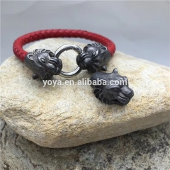 BS3003 Locking animal head clasp leather bracelet,manly stainless steel bracelet