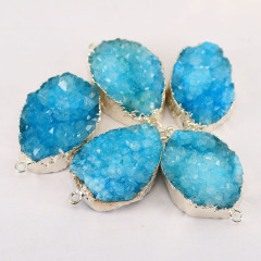 JF8331 High Quality Sparkly Silver plated jewelry natural quartz aqua blue druzy connectors for bracelet making