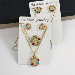 S11057 Bling Jewelry Rainbow Diamond Cubic Zirconia Blessed Mother Earring Necklaces and Bracelet jewelry sets for Women
