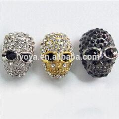 JF2018 metal crystal pave skull beads,skull beads wholesale