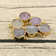 JF8348 New style gold plated natural agate round druzy connectors,druzy jewelry supplies