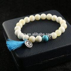 BN1030A gemstone elastic bracelet white jade gem stone tassel bracelet gemstone charm women bracelet