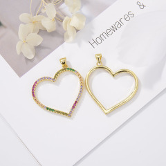 CZ8158 Colorful Zircon Micro Pave Necklace Accessories Love Heart Pendant For Jewelry Making