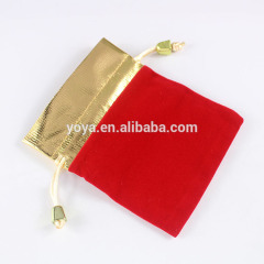 BP0705 Fashion Gold and Red Jewelry Velvet Pouches Gift Bags, Drawstring Gift Bag Pouches