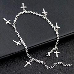 AC1005 Body Foot Jewelry Chic Dainty MInimal Stainless Steel Cross Charm Anklets Bracelet for Women Girls