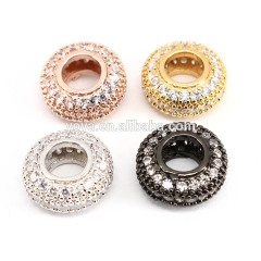 CZ7355 CZ rondelle spacer beads,Large hole beads